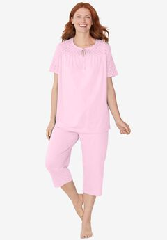 Lace-Trim Cotton Jersey PJ Set,
