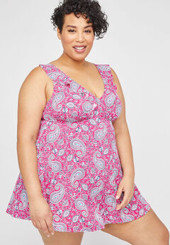 Paisley Ruffle Swimdress,