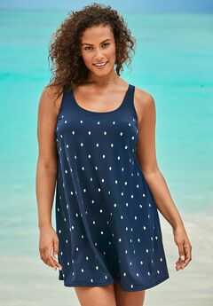 Studded Trapeze Swim Dress ,