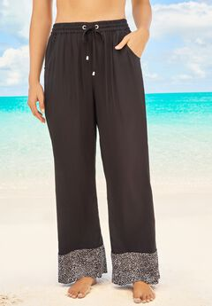 Wide-Leg Pant Swim Cover-Up Pant ,