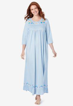 Three-quarter sleeve smocked sleep gown,