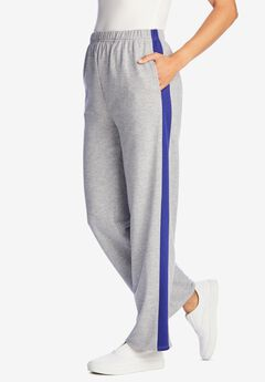 Side Stripe Cotton French Terry Straight-Leg Pant,