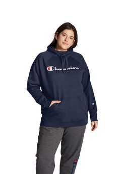 Champion Women's Plus Powerblend® Fleece Hoodie, Script Logo,