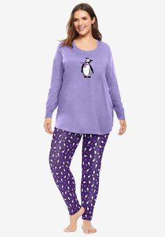 2-Piece PJ Legging Set , PLUM BURST PENGUINS
