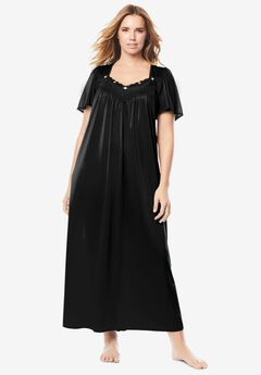 Long Silky Lace-Trim Gown ,