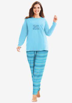 Long Sleeve Knit PJ Set , CARIBBEAN BLUE STRIPE