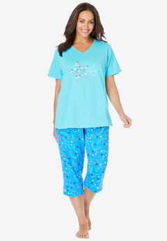 2-Piece Capri PJ Set , POOL BLUE STARS