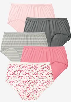 5-Pack Pure Cotton Full-Cut Brief , ROSE HEART PACK