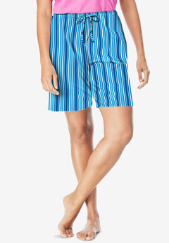 Print Pajama Shorts, POOL BLUE STRIPE