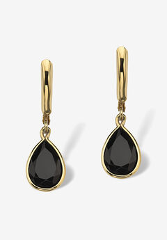 Pear-Shaped Black Onyx Drop Earrings,