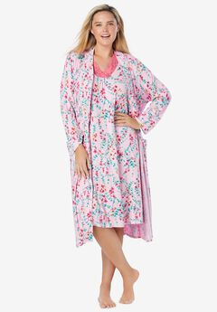 Knit Gown and Robe Set, PINK FLOWER VINE