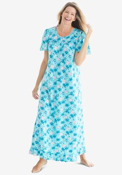 Long Floral Print Cotton Gown , CARIBBEAN BLUE ROSES