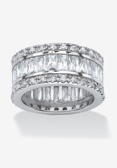 Platinum-Plated Eternity Bridal Ring Cubic Zirconia (9 1/3 cttw TDW),