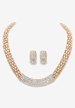 """Goldtone Crystal Earring and Choker Necklace Set, 17 - 20"""","""