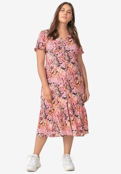 Button-Front Flounce Hem Dress,