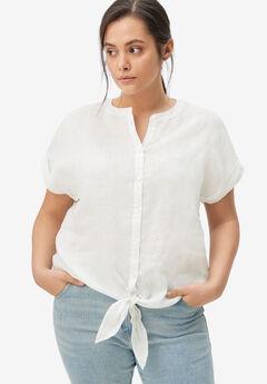 Linen-Blend Tie-Front Blouse,