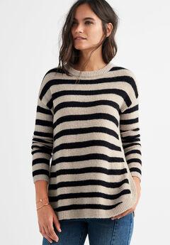 Striped Tunic Sweater, SAND DUNE BLACK STRIPE