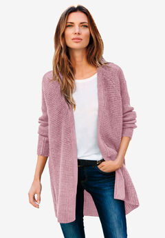Open Front Waffle Cardigan,