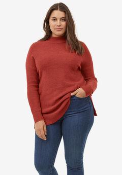 Mockneck Tunic Sweater, RED OCHRE