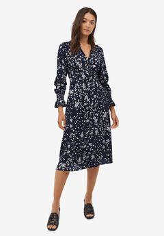 Ruffle-Trim Empire Waist Dress, NAVY FLORAL