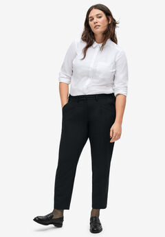 Cropped Pleat-Front Trousers,