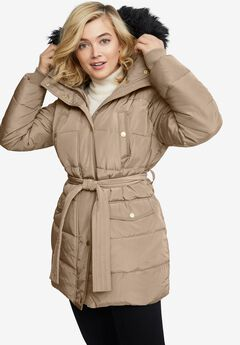 Belted Puffer Coat, SAND DUNE