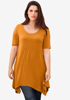 Scoop Neck Hanky Hem Tunic,