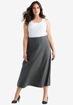 Flared Elastic Waist Skirt,