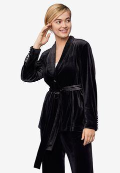 Velvet Belted Blazer, BLACK