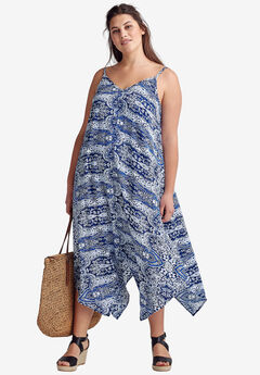 Printed Hanky Hem Dress,