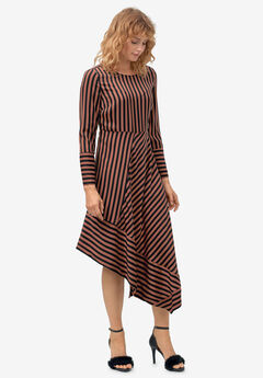 Asymmetrical Striped Dress,