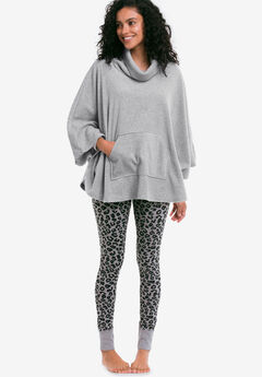 Cowl Neck Fleece Poncho,