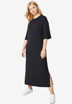 Rib-Knit Maxi Tee Dress,