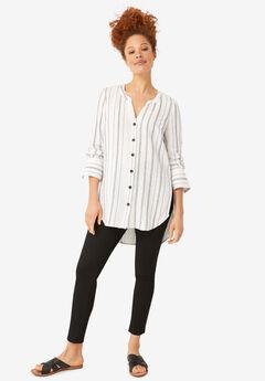 Striped Linen Blend Tunic,
