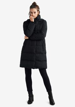 Long Hooded Puffer, BLACK