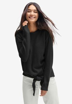 Tie-Front Pullover Sweater, BLACK