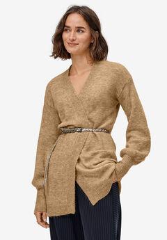Blouson Sleeve Open Cardigan, SOFT CAMEL MARLED