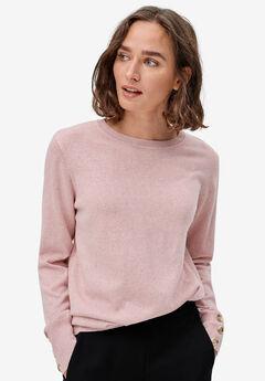 Button-Cuff Pullover, ROSE MIST HEATHER