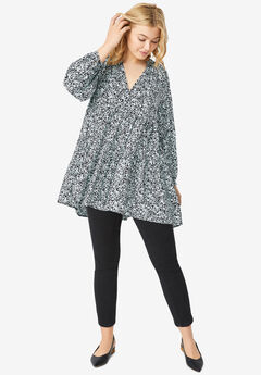 Tiered Tunic With Notch V-Neck,