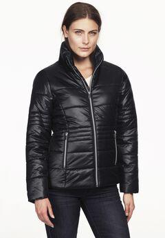 Short Puffer Zip Front Jacket, BLACK
