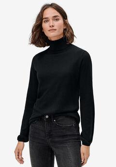 Blouson Sleeve Turtleneck, BLACK