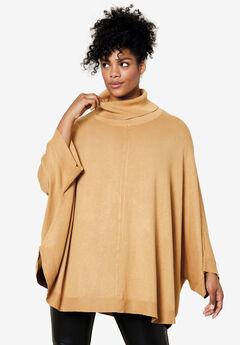 Turtleneck Poncho Sweater, CLASSIC CAMEL
