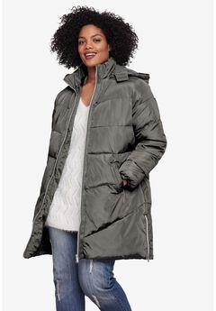 Long Puffer Coat, DEEP GREY