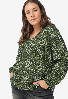 Ruffled Collared Blouse, FOREST GREEN ANIMAL