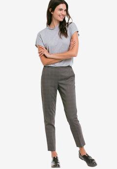Slim Back Elastic Cropped Pants, GREY BLACK PLAID