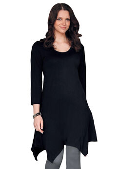 3/4 Sleeve Hanky Hem Tunic, BLACK