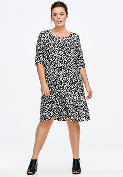 Long Sleeve A-line Knit Dress, BLACK WHITE DOT