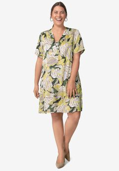 Linen Blend V-Neck Shift Dress,