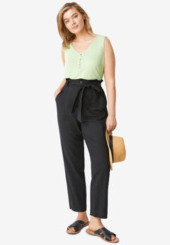 Belted Linen-Blend Pants,