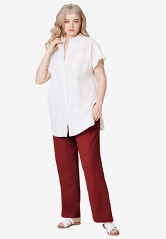 Linen Blend Drawstring Pants,